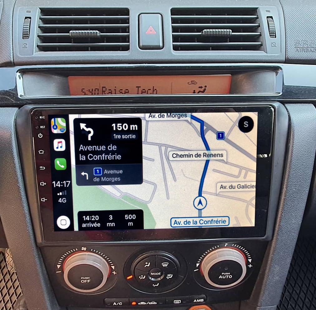 Autoradio GPS à écran tactile QLED Android 11.0 et Apple Carplay sans fil Mazda 3 de 2003 à 2007