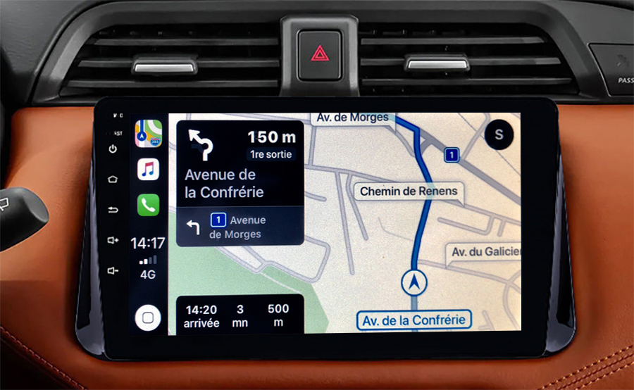 Autoradio GPS à écran tactile QLED Android 11.0 et Apple Carplay sans fil Nissan Micra depuis 2017