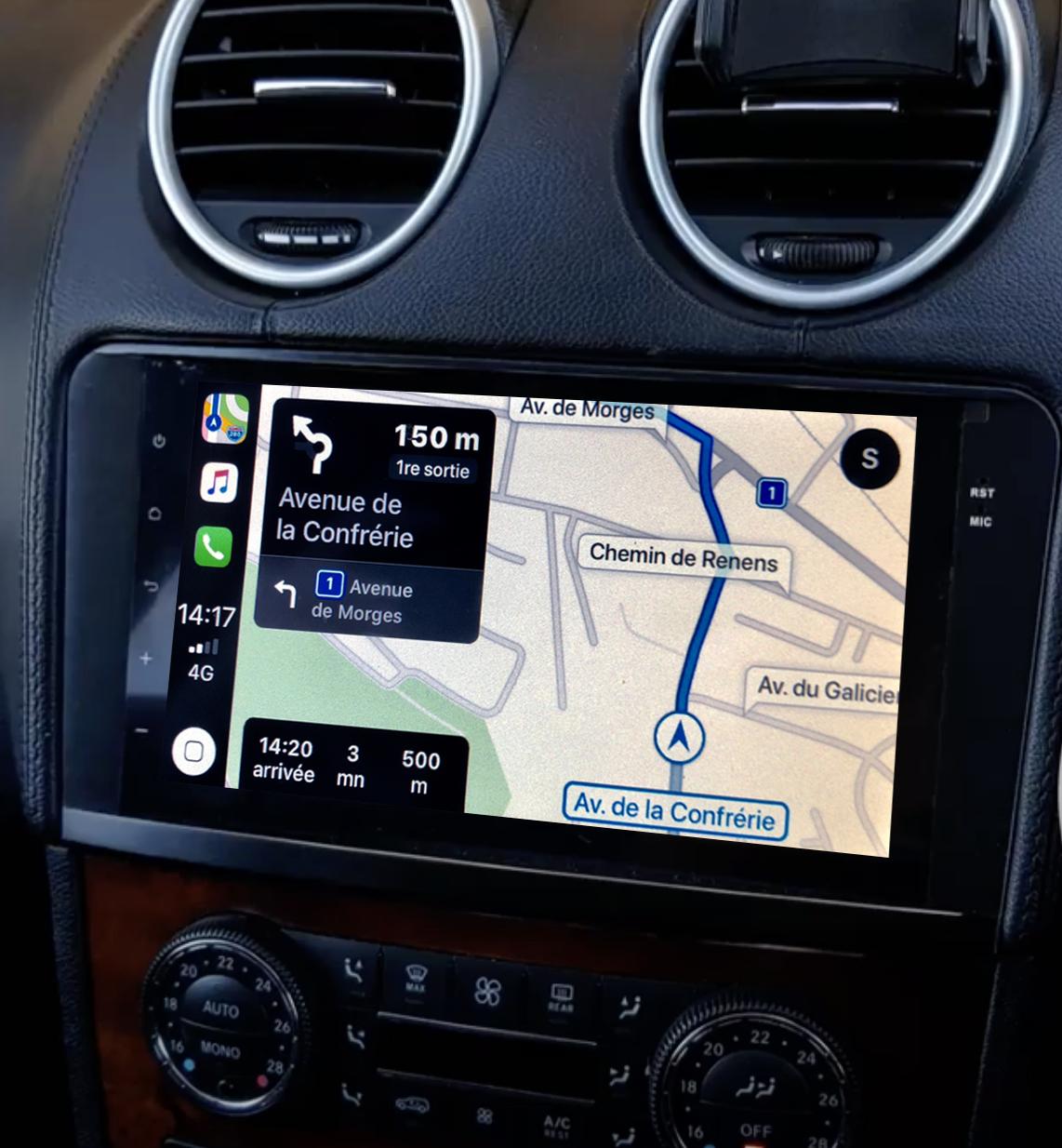 Autoradio tactile GPS Android 10.0 et Apple Carplay Mercedes ML et GL de 2005 à 2012