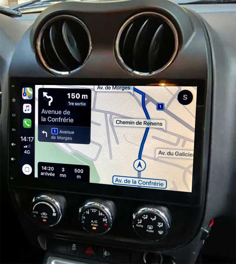 Autoradio GPS à écran tactile QLED Android 11.0 et Apple Carplay sans fil Jeep Patriot et Compass