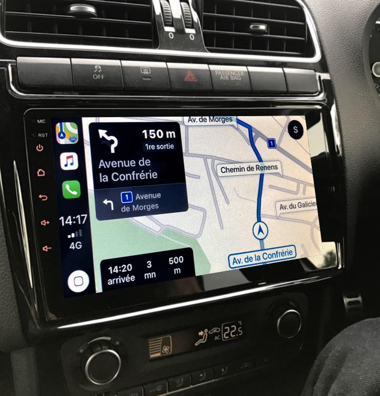 Autoradio GPS à écran tactile QLED Android 11.0 et Apple Carplay sans fil Volkswagen Polo de 2012 à 2017