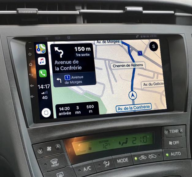 Autoradio GPS à écran tactile QLED Android 11.0 et Apple Carplay sans fil Toyota Prius de 05/2009 à 2012
