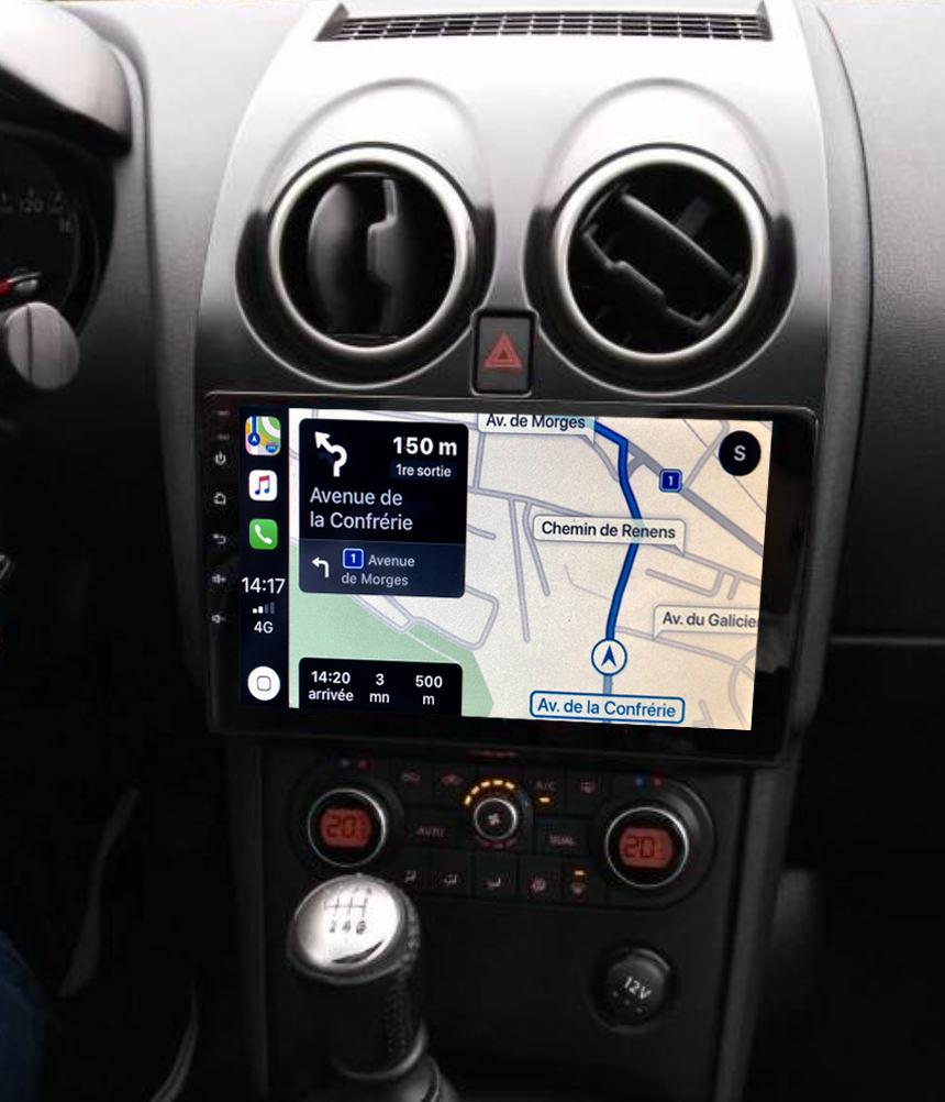Autoradio GPS à écran tactile QLED Android 11.0 et Apple Carplay sans fil Nissan Qashqai de 2007 à 2013