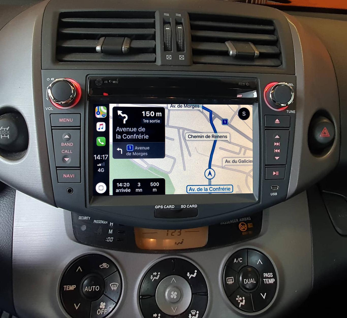 Autoradio tactile GPS Android 10.0 et Apple Carplay Toyota RAV4 de 2006 à 2012