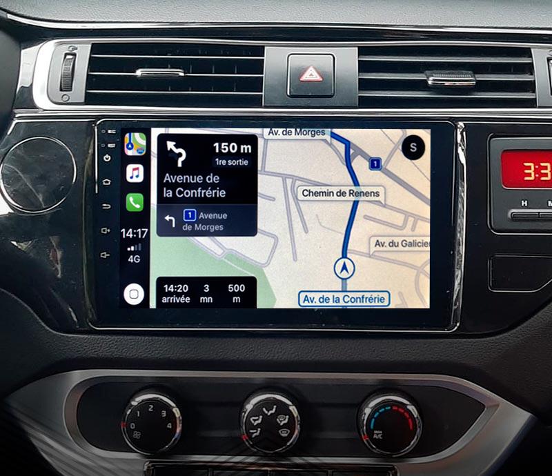 Autoradio GPS à écran tactile QLED Android 11.0 et Apple Carplay sans fil Kia Rio de 2015 à 2017