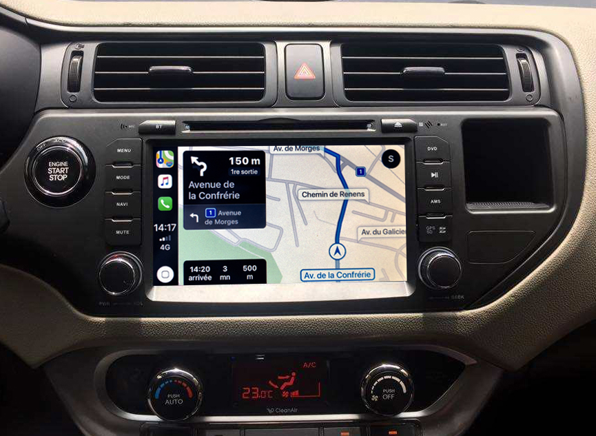 Autoradio tactile GPS Android 10.0 et Bluetooth Kia Rio de 09/2011 à 2015