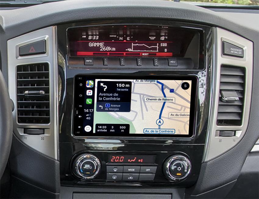 Autoradio tactile GPS Android 10.0 et Apple Carplay Mitsubishi Pajero de 2011 à 2014