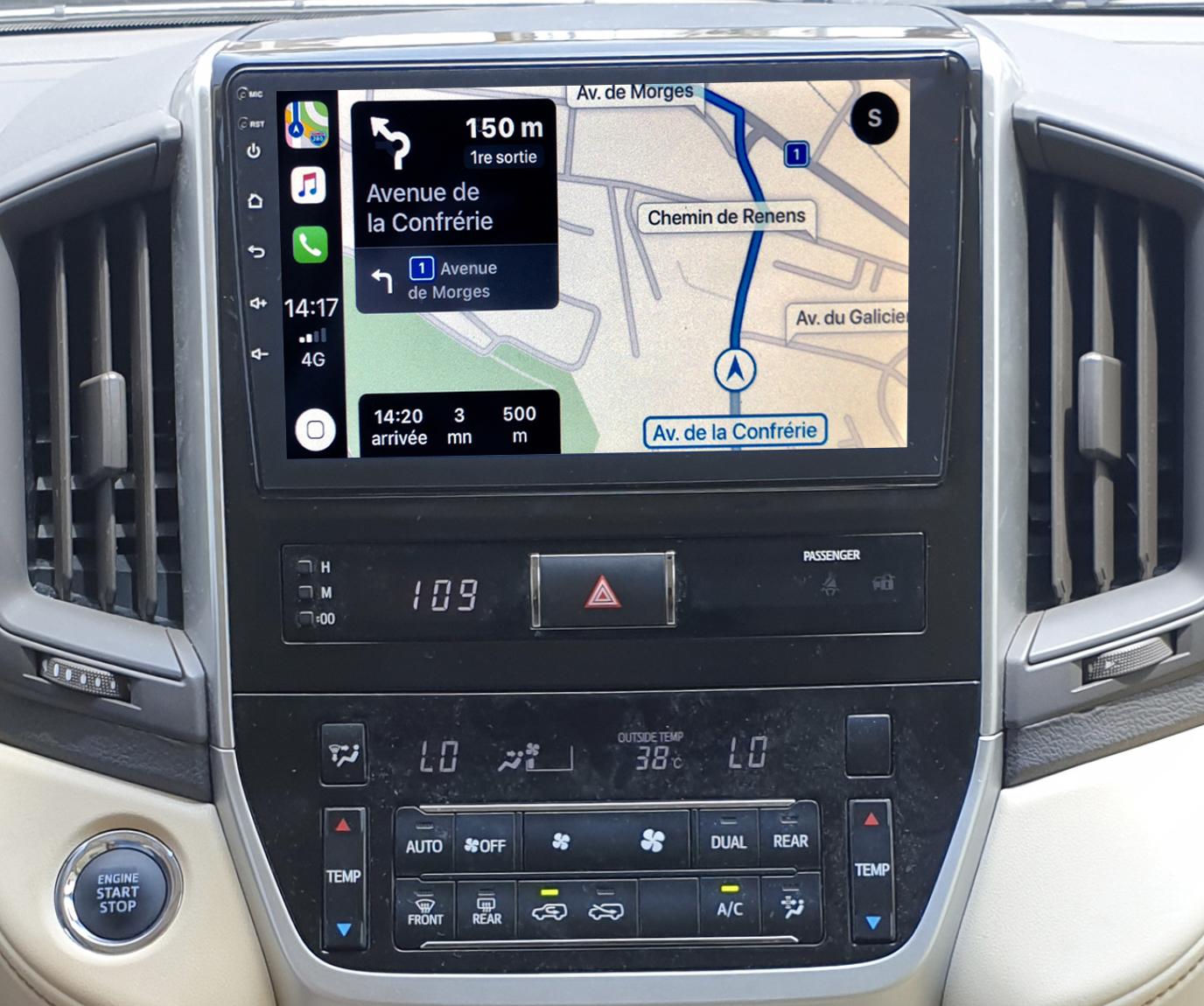 Autoradio GPS à écran tactile QLED Android 11.0 et Apple Carplay sans fil Toyota Land Cruiser depuis 2016