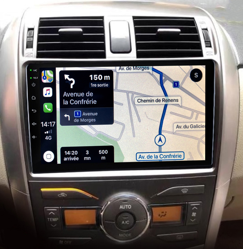 Autoradio GPS à écran tactile QLED Android 11.0 et Apple Carplay Toyota Corolla de 2008 à 2013