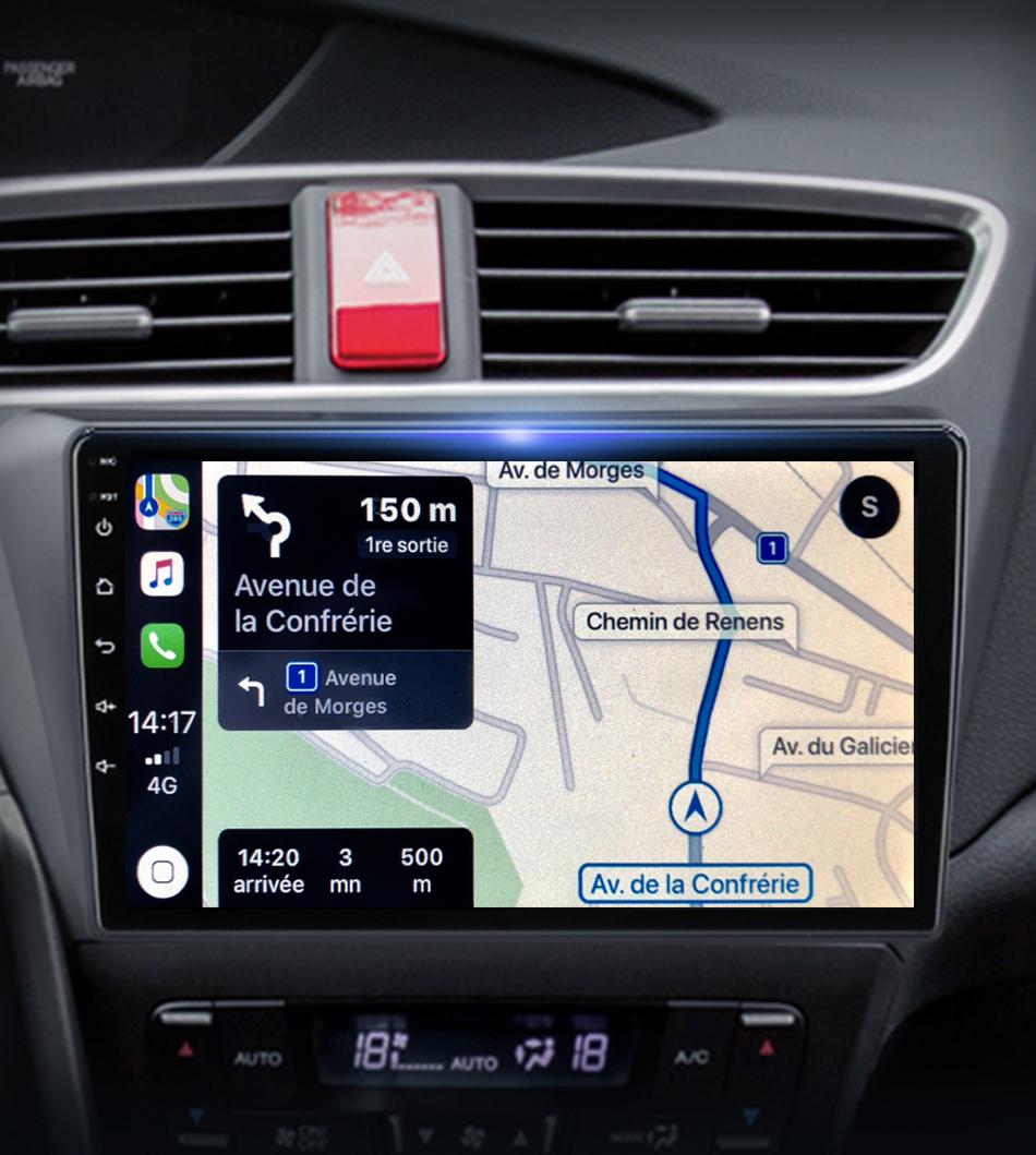 Autoradio GPS à écran tactile QLED Android 11.0 et Apple Carplay Honda Civic de 2012 à 2017