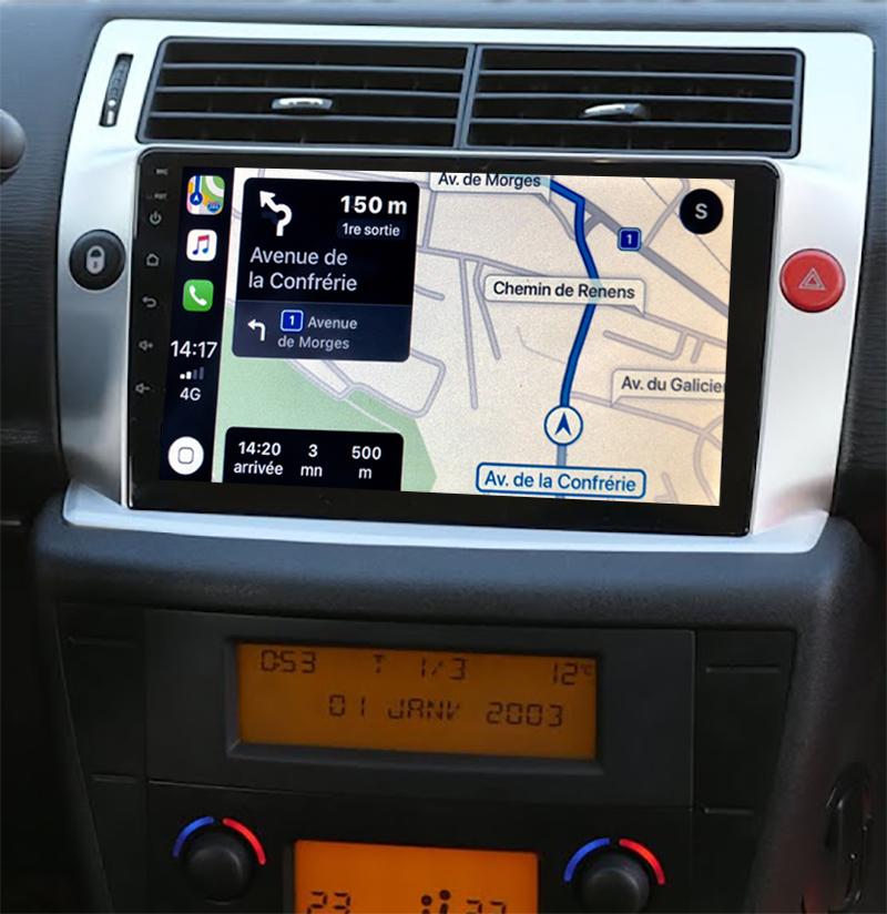 Autoradio tactile GPS Android 11.0 et Apple Carplay sans fil Citroën C4 de 2004 à 2011