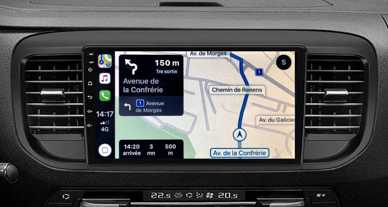 Autoradio GPS à écran tactile QLED Android 11.0 et Apple Carplay Toyota ProAce depuis 2016
