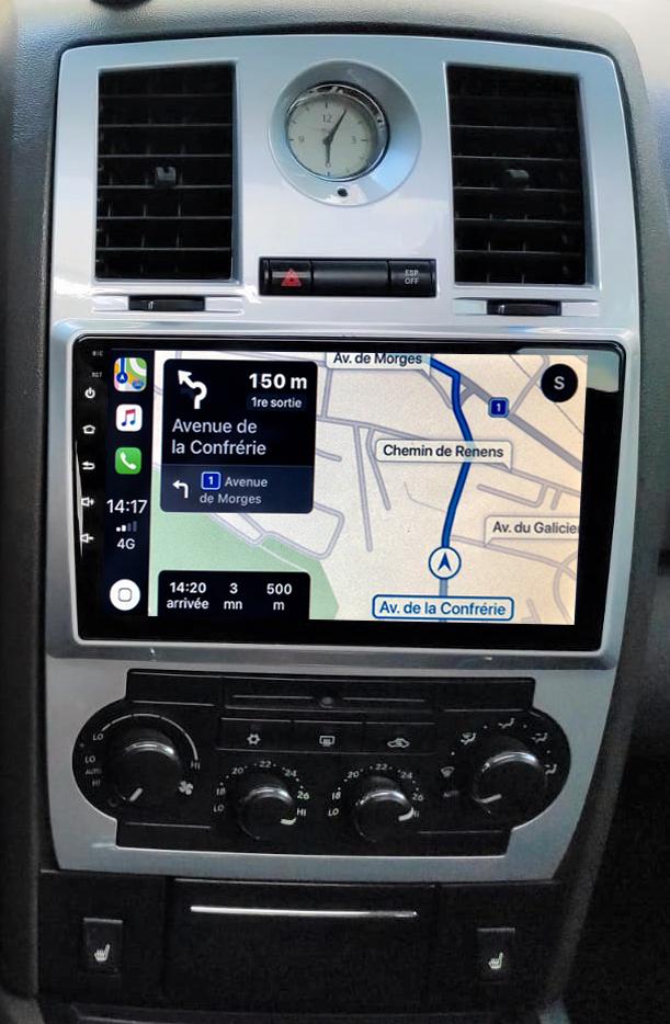 Autoradio GPS à écran tactile QLED Android 11.0 et Apple Carplay Chrysler 300C de 2004 à 2008