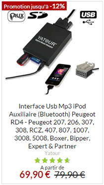 Interface usb RD4 peugeot