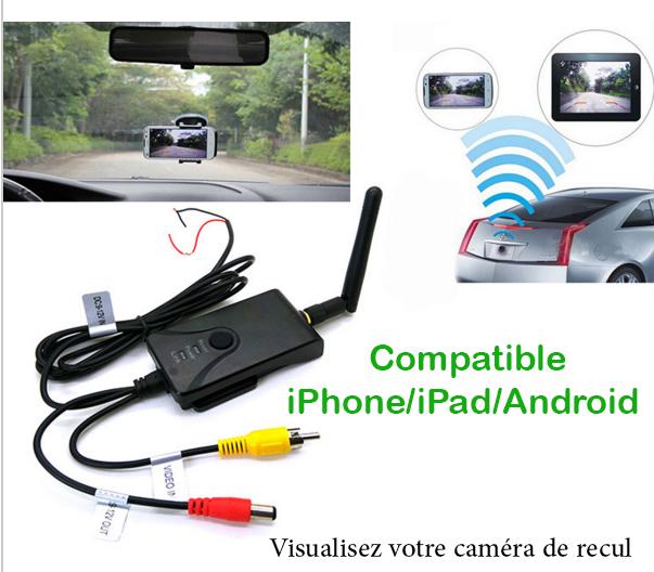 Transmetteur WIFI caméra de recul pour iPhone et SmartPhone et autoradio Android