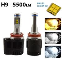 2 x Ampoules H9 - LED Puissance 55W - 5500 Lumens