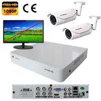 Kit vidéo surveillance : enregistreur AHD 4 voies + 2 caméras extérieures AHD 2 mégapixels Full HD