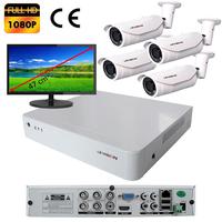 Kit vidéo surveillance : enregistreur AHD 4 voies + 4 caméras extérieures AHD 2 mégapixels Full HD