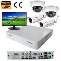 Kit vidéo surveillance : enregistreur AHD 4 voies + 4 caméras AHD (2 x extérieur et 2 x dôme) 2.0 mégapixels Full HD