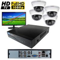 Kit vidéo surveillance HD-TVI : enregistreur 4 voies + 4 caméras dômes HD-TVI de 2.0 mégapixels Full HD