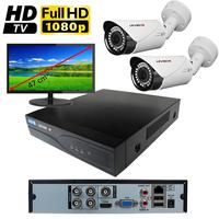 Kit vidéo surveillance HD-TVI : enregistreur 4 voies + 2 caméras extérieures HD-TVI de 2.0 mégapixels Full HD