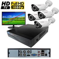 Kit vidéo surveillance HD-TVI : enregistreur 4 voies + 4 caméras extérieures HD-TVI de 2.0 mégapixels Full HD