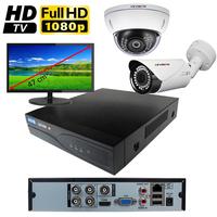 Kit vidéo surveillance HD-TVI : enregistreur 4 voies + 2 caméras HD-TVI (1 x extérieur et 1 x dôme) de 2.0 mégapixels Full HD