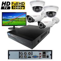 Kit vidéo surveillance HD-TVI : enregistreur 4 voies + 4 caméras HD-TVI (2 x extérieur et 2 x dôme) de 2.0 mégapixels Full HD