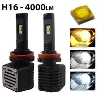 2 x Ampoules H16 - LED Puissance 40W - 4000 Lumens