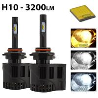 2 x Ampoules H10 - LEDs Puissance 30W - 3200 Lumens