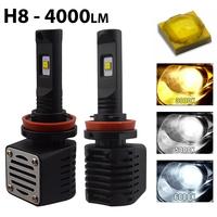 2 x Ampoules H8 - LED Puissance 40W - 4000 Lumens