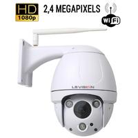 Dome PTZ de vidéo surveillance sans fil WIFI : 2.4 MegaPixels, vision nocturne jusqu'à 60m