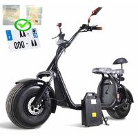 Citycoco à batterie amovible : Scooter électrique Noir avec certificat d'immatriculation français inclu