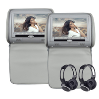 Paire d'appui tête avec écran tactile 22cm HD, port USB et lecteur CD/DVD, colori Grey