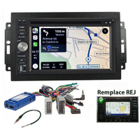Autoradio tactile GPS Android 10.0 et Apple Carplay Jeep Grand Cherokee, Compass et Commander de 2006 à 2010 (Remplace autoradio REJ d'origine)