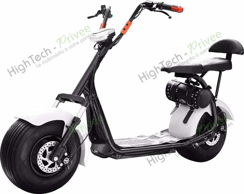 scooter lectrique type harley citycoco blanc 1500 watts. Black Bedroom Furniture Sets. Home Design Ideas