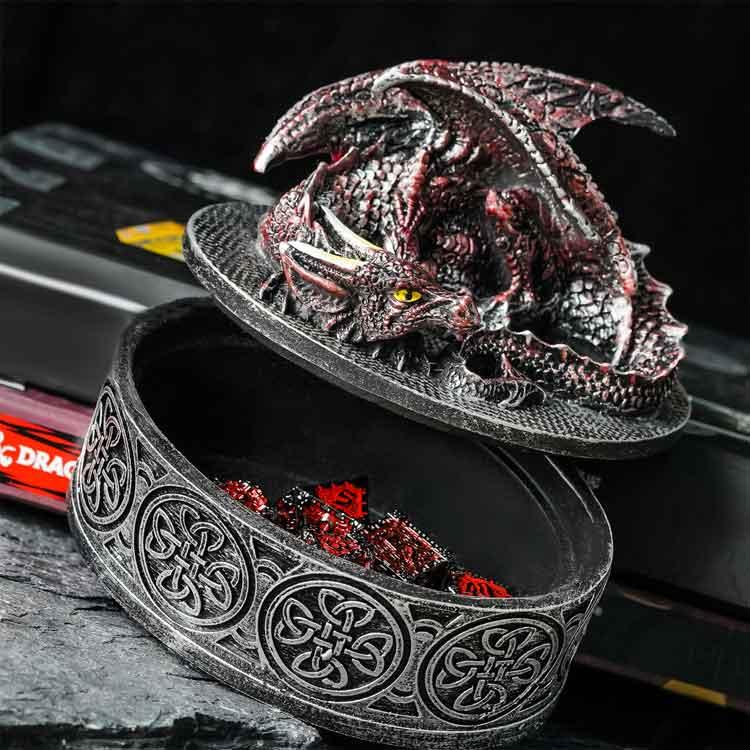 Boîte rangement dés dragon rouge