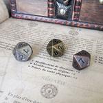 Dé 10 faces en métal D10 or argent bronze