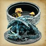 Boîte rangement dés dragon bleu