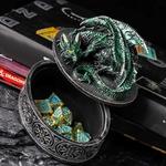 Boîte rangement dés dragon vert