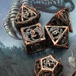 Dés en métal gravé dragon