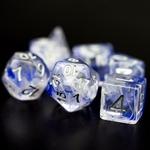 Dés de jeu de rôle marbré transparent bleu