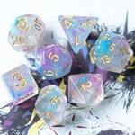 Set de dés de jeu de rôle nébuleuse bleu violet cyan