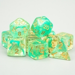 Set de dés de jeu de rôle paillette or