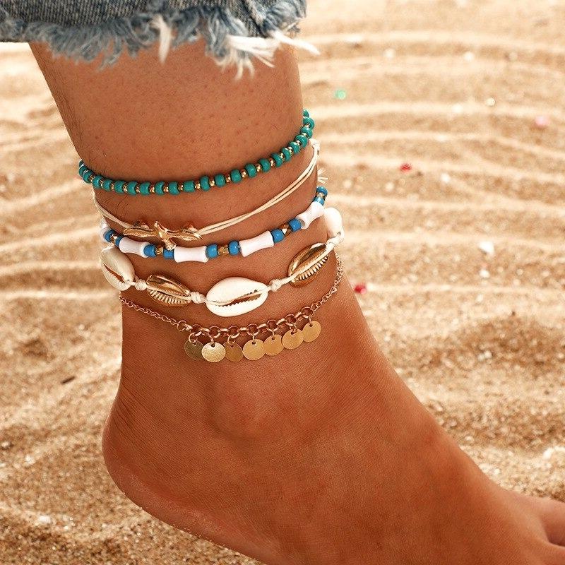 Ensemble bracelets de cheville d\'été plage