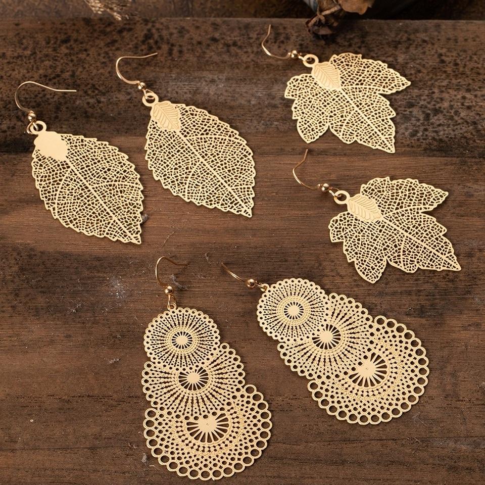 Boucles d\'oreilles feuilles ajourées boho