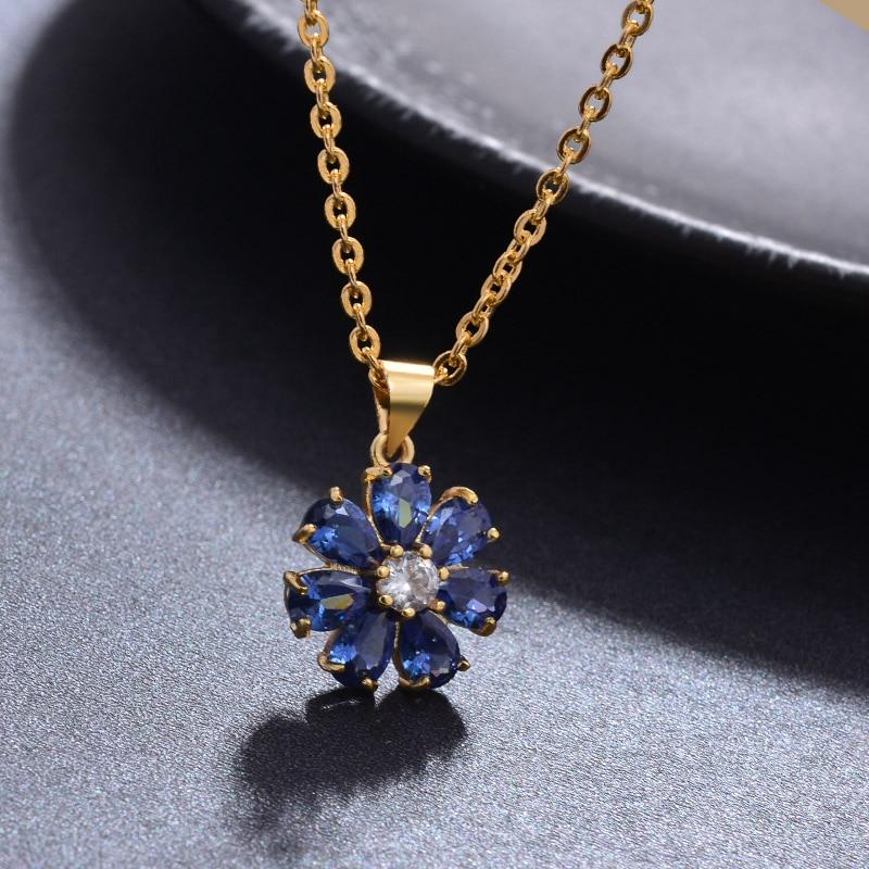 Colliers au pendentif pierre bleue en forme fleurs