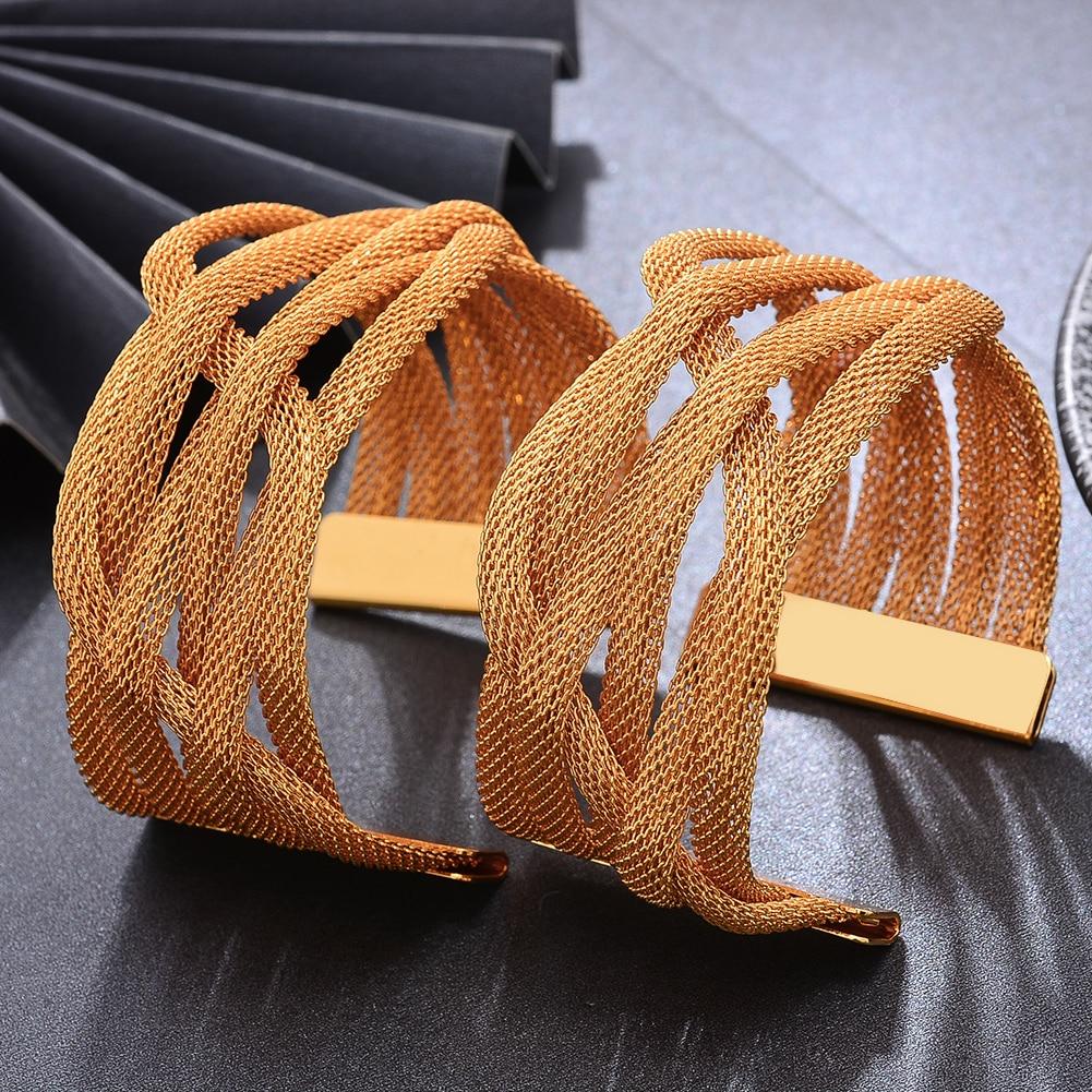 Bracelets manchette effet maillage