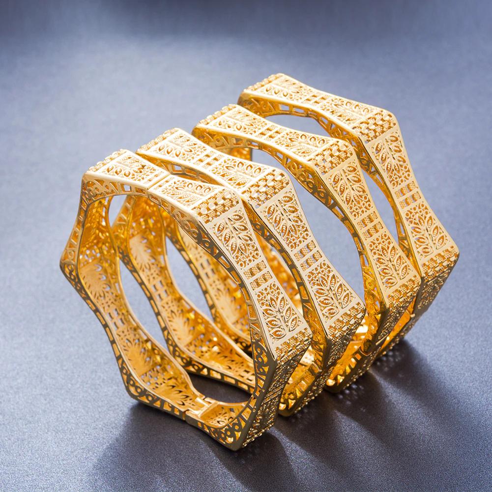 Ensemble de bracelets hexagonale en plaqué Or 24K