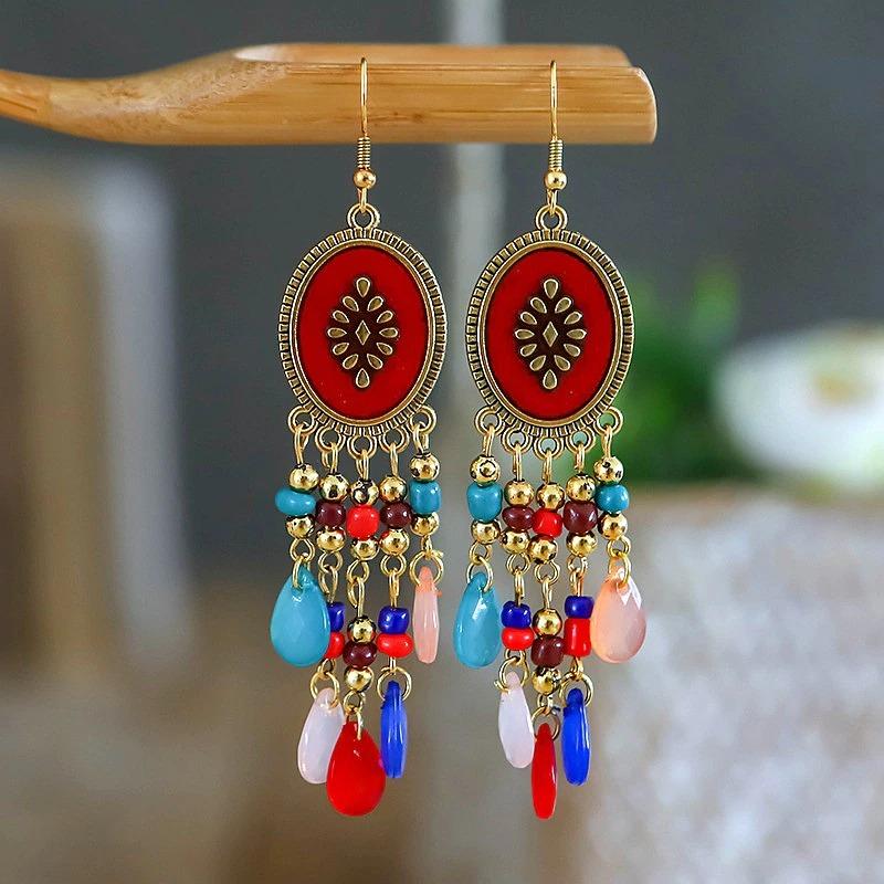 Boucles d\'oreilles pendantes en perles
